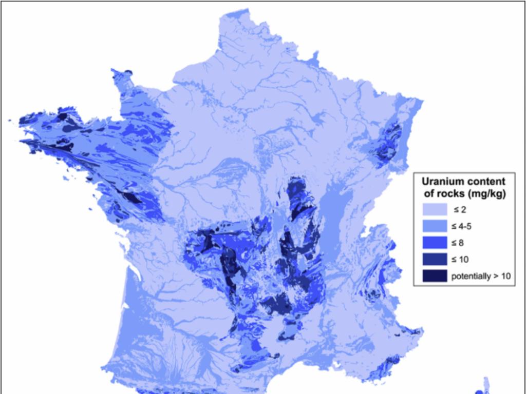 Carte de la radioactivité naturelle en France, réalisée par une équipe de chercheurs géologues.