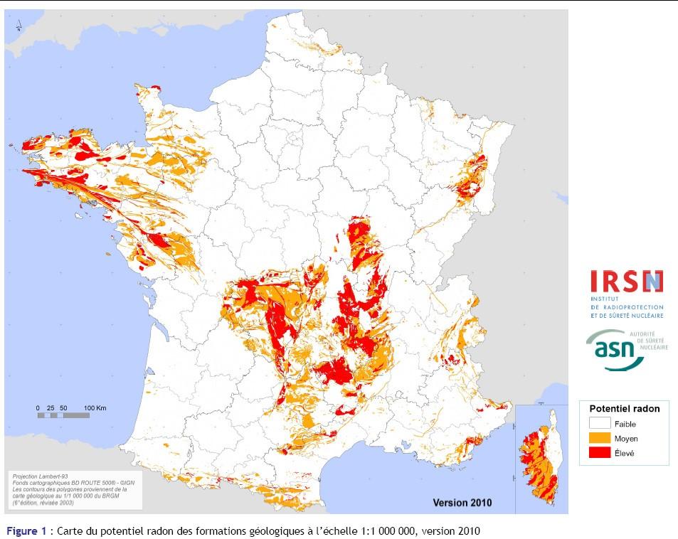 Carte du potentiel radon des formations géologiques, notamment en Bretagne.
