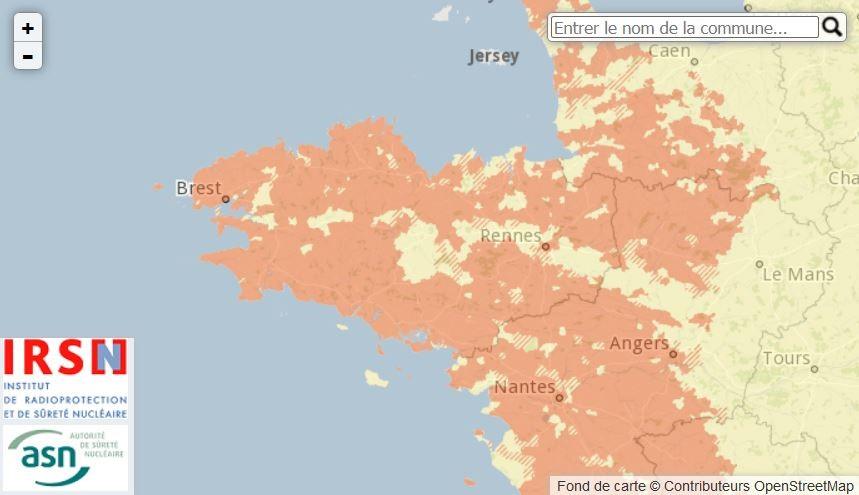 Carte du potentiel radon en Bretagne
