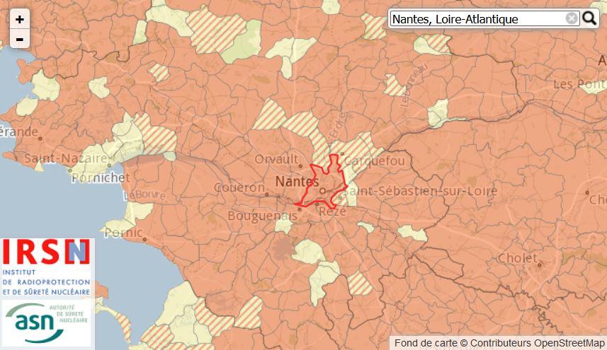 Carte du potentiel radon